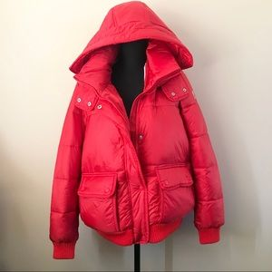 A&F Red Puffer Jacket Water and Wind Resistant